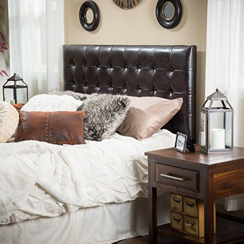 Christopher Knight Home Lansing King to Cal King Adjustable Brown Tufted Leather Headboard