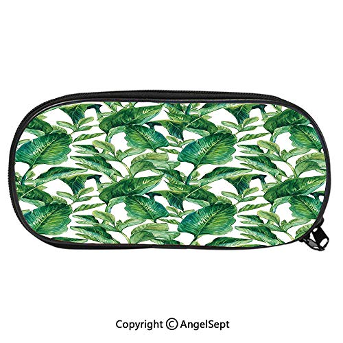 1262D Printing Pattern Pencil CaseEquatorial Leaves in Hand Drawn Watercolor Style Artwork Botanical Petal Spring for Children Teenager Pen Box Pencil Pouch Desk for Boys and GirlsGreen Jade Green