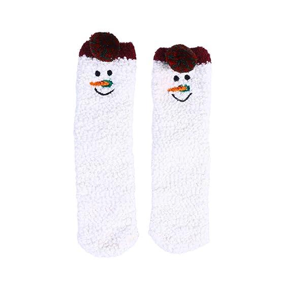 TENDYCOCO Calcetines de regalo de Navidad Fluffy Velvet Coral Calcetines Gruesos Cálidos Mujeres Toalla de Piso Calcetín para Mujeres Niños Niñas: ...