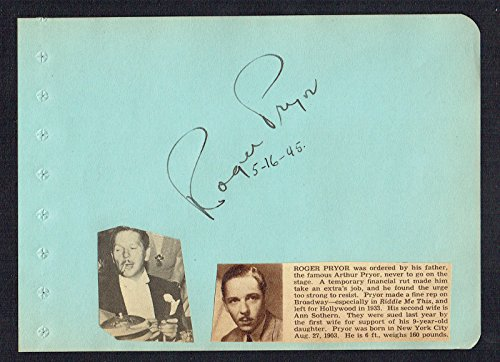 Roger Pryor (d. 1974) signed autograph 5x6 Album Page Actor: Glamour for Sale