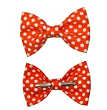 Boys Tangerine Orange/White Dots Clip On Cotton Bow Tie Bowtie by amy2004marie