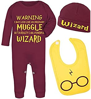0dd2fdb8c3e No Ordinary Muggle Harry Potter Inspired Babygrow Hat and Bib Set babygrow  bodysuit Baby Shower Gifts
