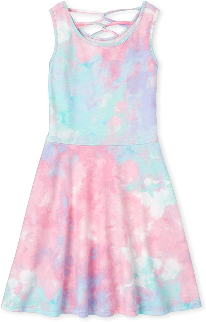 The Childrens Place Girls Tiedye Crossback Romper