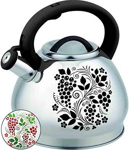 HOUSIYU Whistle Teapot Color Flower Stainless Steel Kettle Coffee Pot Automatic Whistle Indoor Outdoor Camping Hiking Picnic3L, Grape