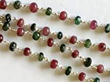 KALISA GEMS Beads Gemstone 5 Feet Emerald & Ruby Faceted Rondelle Beads in 925 Silver Wire Wrapped Rosary Style Chain Emerald Ruby Beaded Chain