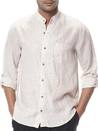 0fe4b21cae0 Pengfei Mens Cotton Shirts Mandarin Collar Linen Casual Button Down Long  Sleeve Regular Fit Shirts (