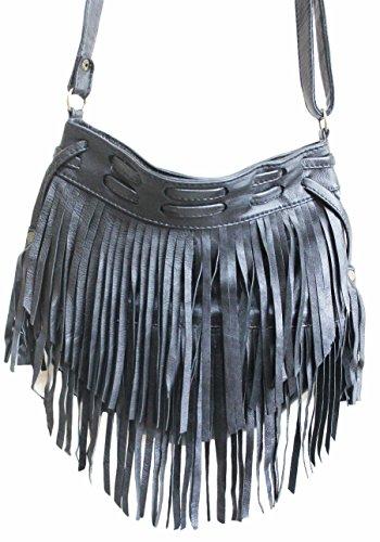11sunshop BAG-CHARIS - Bolso de asas para mujer Negro negro M