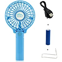 Happy-top Handfan Rechargeable Fans Portable Handheld Mini Fan Battery Operated Cooling Fan Electric Personal Fans Foldable Fans for Home Office and Travel (Blue)