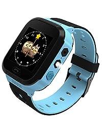 Ownsig-Reloj Inteligente para niños, rastreador LBS para niños niñas cumpleaños con cámara SIM Llamadas Anti-pérdida SOS Smartwatch Pulsera para iPhone Android Smartphone-Azul