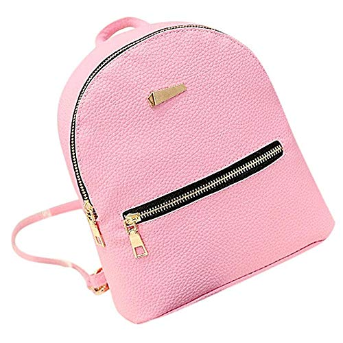 Pink Color Multi Handbag (Smartwhiz Mini Cute Luxury Travel Daypacks - PU Leather Backpack Fits iPad. Backpack, Handbag, Travel Bag, School, Casual Bags For Teen, Women and Girls with Multi Color Options (Pink))