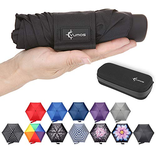 (Vumos Small and Compact Travel Umbrella - Portable Mini Umbrella Perfect for Men, Women or Kids. Has Case to store in Pocket, Purse, Backpack or Car)