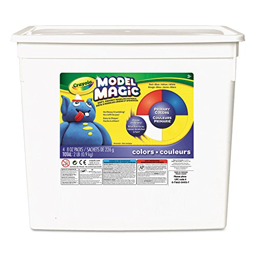 Crayola Model Magic, Primary Colors (Redyellowbluewhite) 8 Ounce Packs (4 Count Bucket) No-mess, Soft, Lightweight Modeling Material For Kids 4 & Up, Easy To Paint & Decorate, Air Dries Smooth