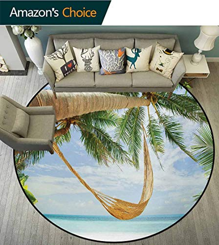 RUGSMAT Beach Modern Washable Round Bath Mat,View of Nice Hammock with Palms by The Ocean Sandy Shore Exotic Artsy Print Non-Slip Bathroom Soft Floor Mat Home Decor,Diameter-24 Inch