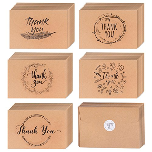 40 Kraft Rustic and Vintage Thank You Cards | Bulk Box Set w/Envelopes & Stickers | Large Brown 4 x 6