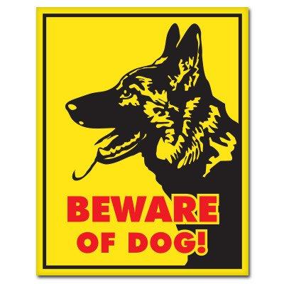 Dog Shepherd Sticker (German Shepherd Beware of Dog Sign Vinyl Sticker - Car Window Bumper Laptop - SELECT SIZE)