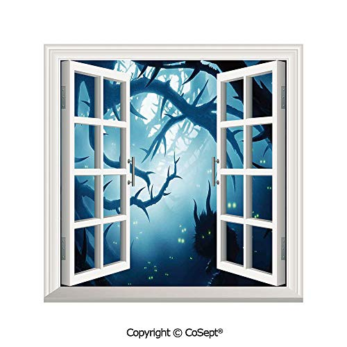 SCOXIXI Removable Wall Sticker,Animal with Burning Eyes in Dark Forest at Night Horror Halloween Illustration,Window Sticker Can Decorate A Room(26.65x20 inch)