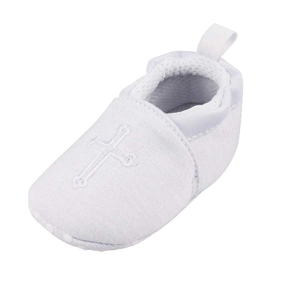 Baby Boys Girls Premium Soft Sole Christening Baptism Church Cross Slipper Crib Shoes, 3-6 Months by Estamico (Image #1)
