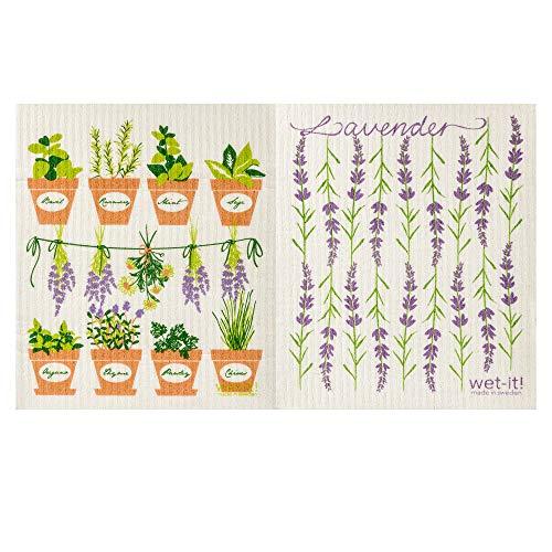 - Wet-It! Swedish Dishcloth Set of 2 (Herbs and Lavender)