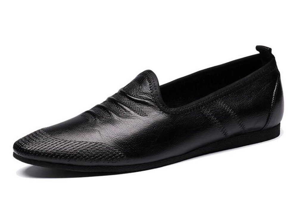 Men Slip-On Oxford Summer Breathable Men'S Shoes Casual Shoes Soft Leather Leather Comfortable Loafer Flat Shoes ( Color : Black , Size : 39 )