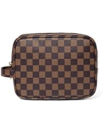 Luxury Checkered Make Up Bag   PU Vegan Leather Cosmetic toiletry Travel bag