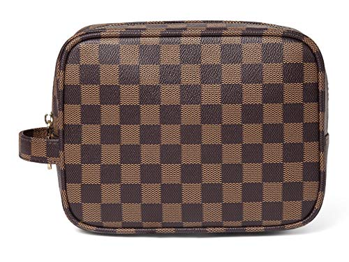 (Daisy Rose Luxury Checkered Make Up Bag | PU Vegan Leather Cosmetic toiletry Travel bag (Brown))