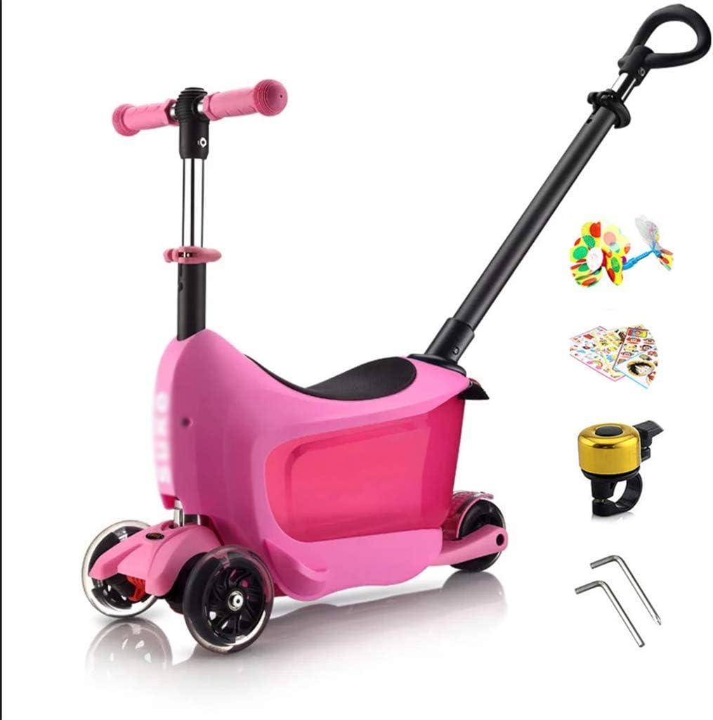 Chunse Maleta de Montar a Caballo para niños, Puede Montar la Maleta de los niños con Scooter Adecuado para los niños Menores de 6 años,Pink