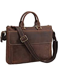 Texbo Vintage Simple Cow Leather Durable Laptop Tote Briefcase, 14 Laptop Bag