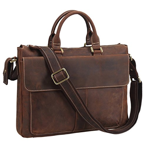 Texbo Vintage Simple Cow Leather Durable Laptop Tote Briefcase, 14'' Laptop Bag by Texbo