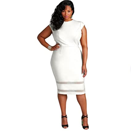 Hemlock Plus Size Dress, Women Oversize Sleeveless Bodycon Dress (3XL,  White)