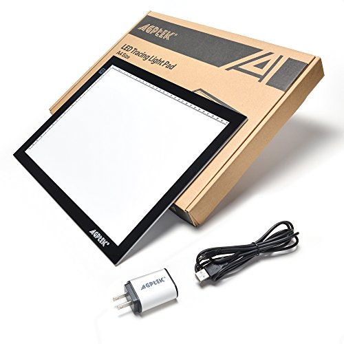 AGPtek A3 Ultra-thin USB Power LED Artcraft Tracing Light Pad Light Box with Brightness Control USB Wall Adapter For Artists, Drawing, Sketching, Animation, Diamond Painting, X-Ray View, Tattoo, Quilting by AGPTEK (Image #1)