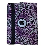 USAHITEC JYtrend (TM) 360 Degrees Rotating Magnetic Stand Leather Case Smart Cover (iPad Mini/iPad Mini 2/iPad Mini with Retina Display, Leopard Purple)