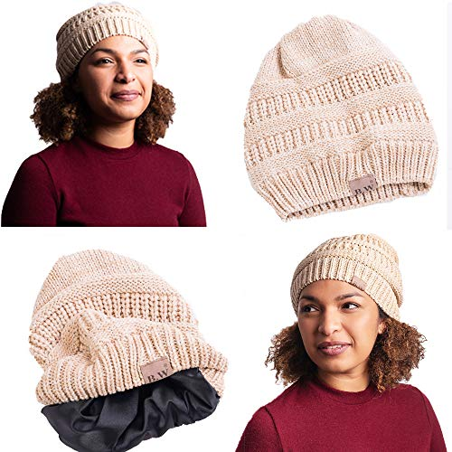 - Beautifully Warm Women Winter Hat | Satin Lined Hat for Ladies with Natural Hair | Soft Slouchy Beanie Hat Looks Great on Girls | Knitted Winter Hat Oversized Feels Comfortable | Beige\Ivory