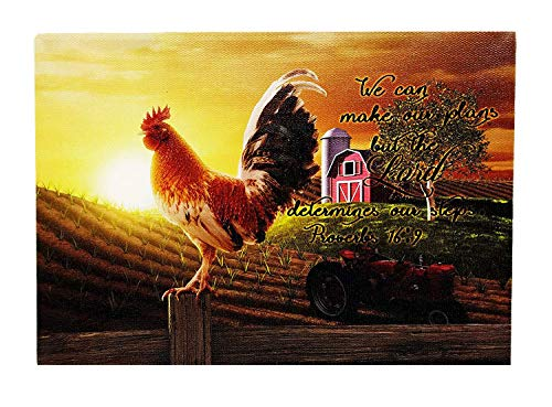 (Oak Street Lighted Canvas Farm Rooster Barn Theme Proverbs 16:9We can Make Our Plans but The Lord Determines Our Steps LED and Timer Tabletop 8 x 6 inches with Glowing Sunrise )