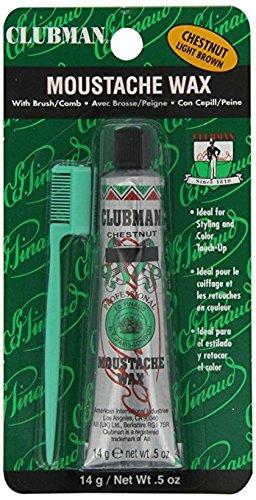 Clubman Moustache Wax with Brush/comb 0.5oz - Chestnut/light ()