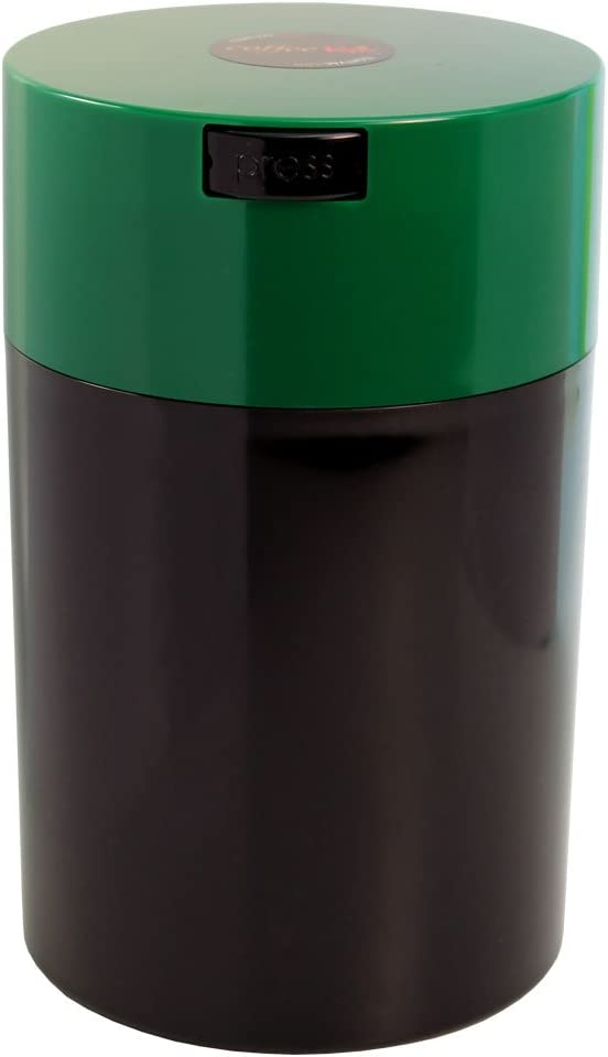 Coffeevac 1 lb - The Ultimate Vacuum Sealed Coffee Container, Green Cap & Black Body