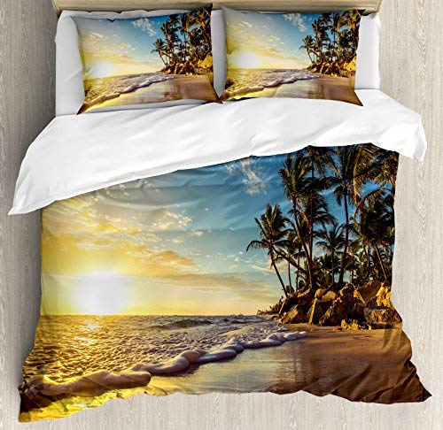 Ocean 3 Piece Bedding Set Duvet Cover Set Full Size, Image of Palm Trees on an Exotic Beach at Sunset with Waves in The Ocean Dominican Paradise, 3 Pcs Comforter Cover Set with 2 Pillow Cases