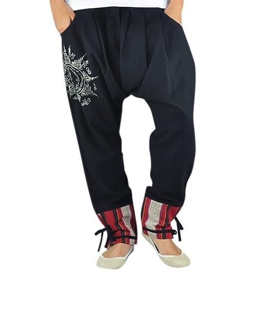 c316f7102 virblatt Pantalones cagados en Estilo Harem de Entrepierna Baja para  Hombres y Mujeres con Tatuaje Espiritual Yantra como Ropa Hippie y Ropa  etnicav ...