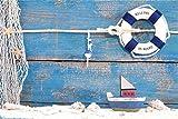 OFILA Wood Backdrop for Baby 5x3ft Board Theme Background Lifebuoy Children Sailboat Seashell Starfish Fishnet Kids Birthday Party Decoration Newborn Portraits Travel Holidays Baby Shower Shoots Props