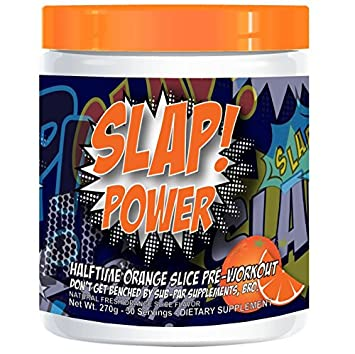 Slap Nutrition Halftime Orange Pre Workout Supplement, No Artificial Sweeteners, Pre-Workout Powder w Beta Alanine, 30 servings, Caffeine, Stevia Extract, Natural Flavors