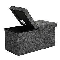 SONGMICS Faltbare Sitzbank 80 L Truhenbank Halbdeckel seitlich klappbar belastbar bis 300 kg 76 x 38 x 38 cm dunkelgrau LSF46GYZ, Bezug aus Leinenimitat, Schaumstoff, MDF-Platte,