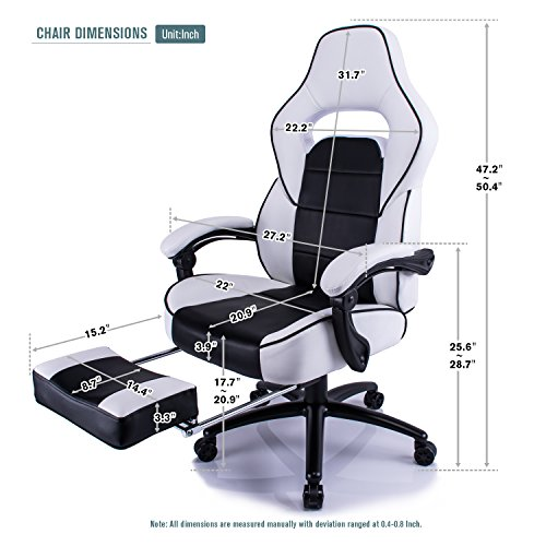 Aminiture Executive High Back Sport Racing Style Gaming Office Chair Recliner PU Leather Swivel Computer Desk Armchair with Footrest (White) by Aminiture (Image #5)