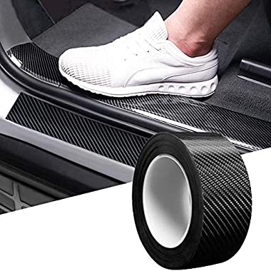 CVANU Car Door Sill Protector Bumper Protector Carbon Fiber Car Wrap Film 5D Gloss Black Vinyl Automotive Wrap Film Self-Adhesive Anti-Collision Film Fits for Most Car (Size 2inch X 60 Feet) 5