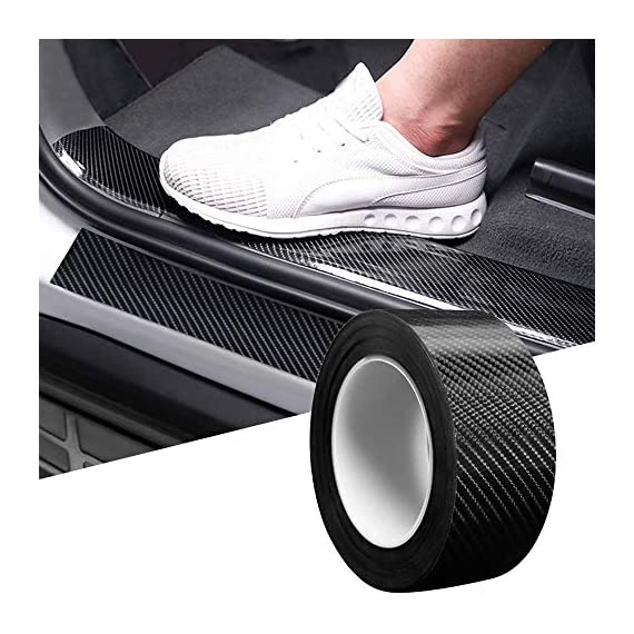 CVANU Car Door Sill Protector Bumper Protector Carbon Fiber Car Wrap Film 5D Gloss Black Vinyl Automotive Wrap Film Self-Adhesive Anti-Collision Film Fits for Most Car (Size 2inch X 60 Feet) 1