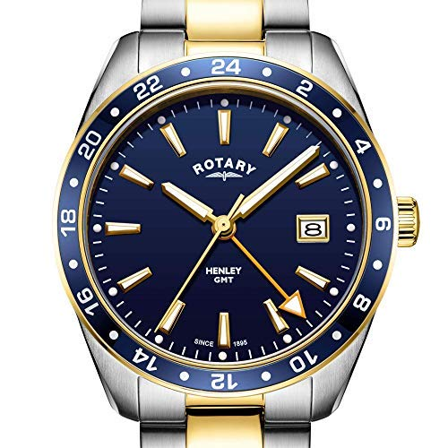 Rotary Men's Watch GMT Henley Two Tone Gold and Silver Stainless Steel Blue Dial 40mm GB05296/05