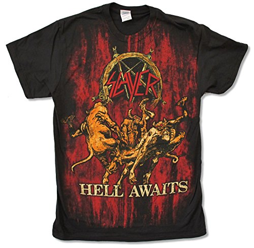 "Adult Slayer ""Hell Awaits Jumbo"" Black T-Shirt (X-Large)"