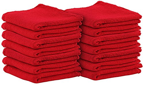 Shop Towels (Pack of 100, 13 X 13 Inches) Commercial Grade Machine Washable Cotton Washcloths Lint Free White Shop Rag - Perfect for Auto Mechanic Work and Bar Mop by - For Shop You