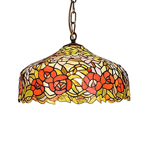 XNCH Tiffany Style pendent Light Creative pendent lamp Beautiful led Inverted Ceiling Pendant, lampshade 16inch Total Height 39inch, Stained Glass + Metal