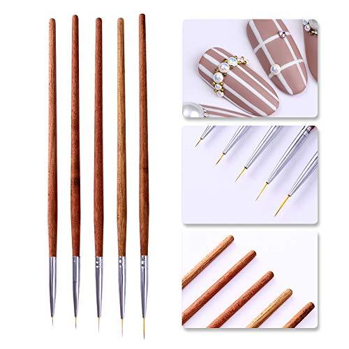 Art Brush - French Tip Nail Brush Silver Black Handle Half Moon Shape Acrylic Painting Drawing Pen Manicure Nail Art ()