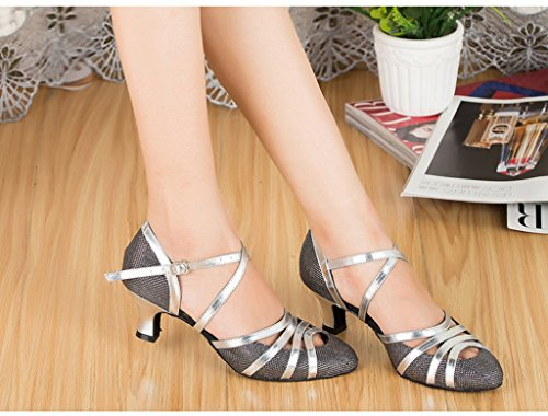 Meijili Meijili2943 - De Salón de Material Sintético Mujer Black Heel 5cm