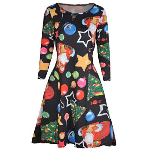 Kleid damen Kolylong® Frauen Elegant Weihnachten Kleid Vintage ...
